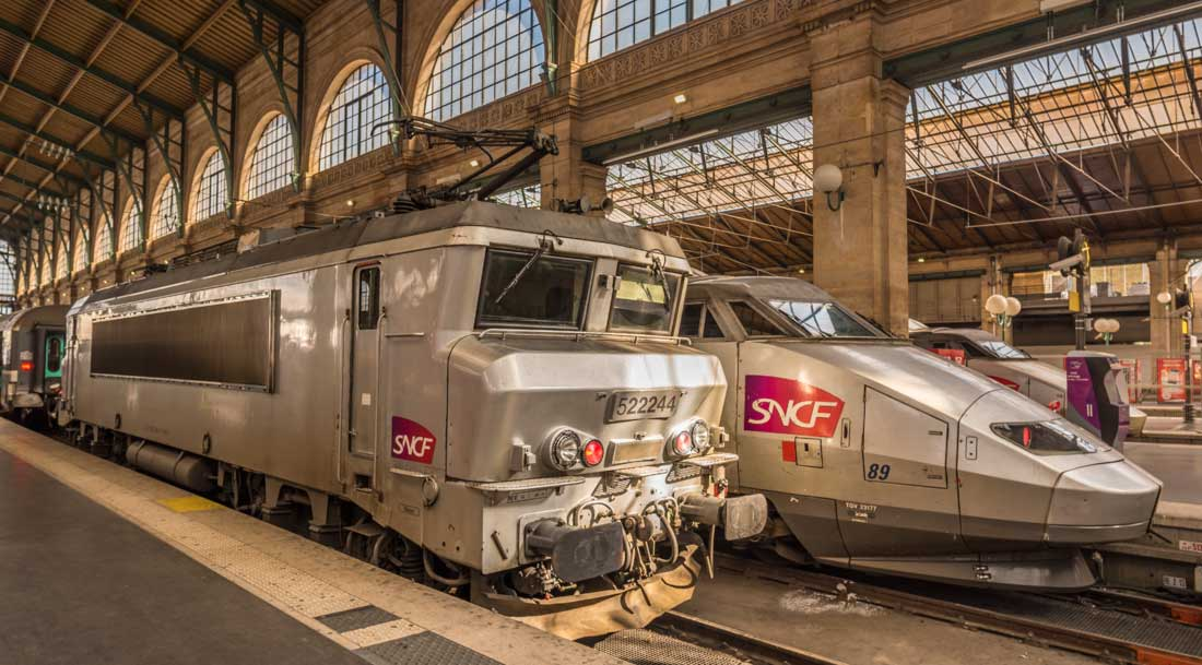Trains at the Gare du Nord in Paris