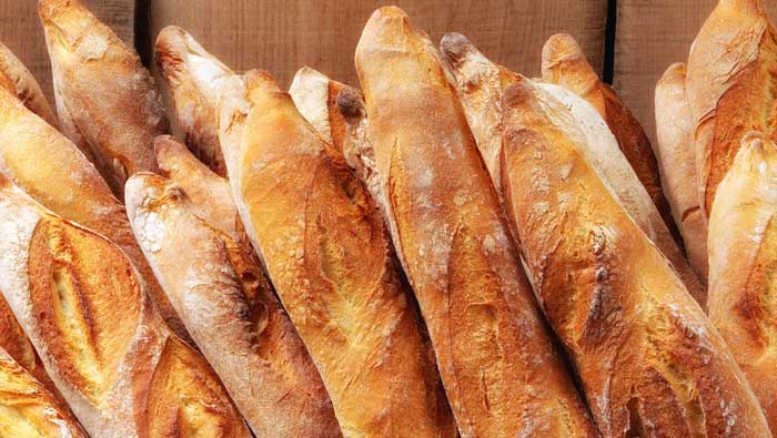 Stack of french baguette